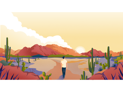 Sunrise light material landscape vector colors noise illustration clouds desert cactus arizona sun sunrise