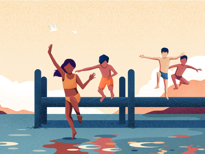 Lake children childhood child character vector noise landscape illustration