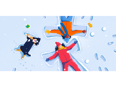 Bye, winter vector illustration fun dog winter children colors vector character noise illustration