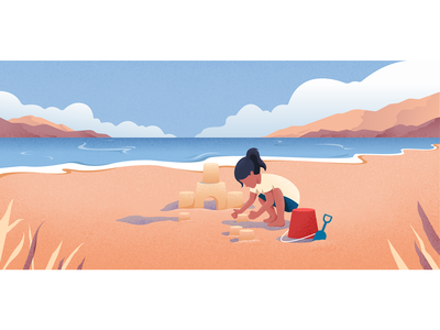 Sand castle sand castle beach sunny children colors girl landscape vector character illustration