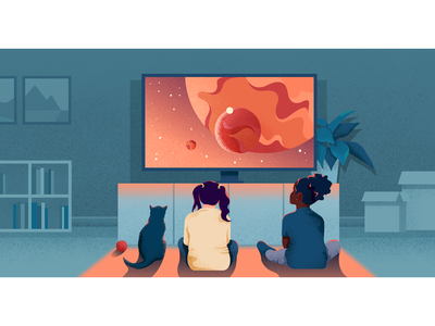 Hypnosis illustraion girls noisy colors childrens illustration child kids home watching space
