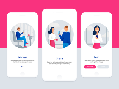 Onboarding Illustrations mobile colors screen welcome character app design material google illustration onboarding