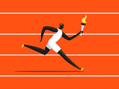 The Runner athlete dynamic noise olympic runner sport illustration material google design colors character