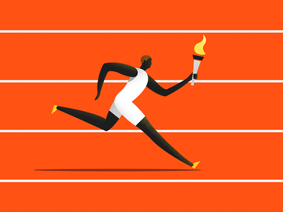 The Runner athlete dynamic noise olympic runner sport illustration material google design colors character