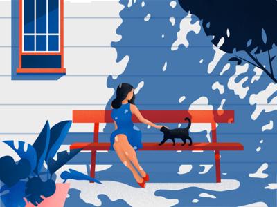Missing Summer cat noise material graphic girl editorial light character sun summer illustration