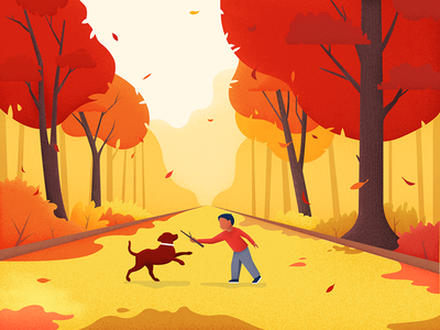 Fall dog noise material park illustration graphic autumn editorial character