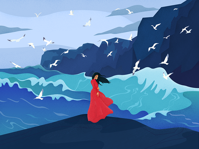 Annabel Lee storm gulls landscape seascape waves woman wind sea graphic material illustration charachter