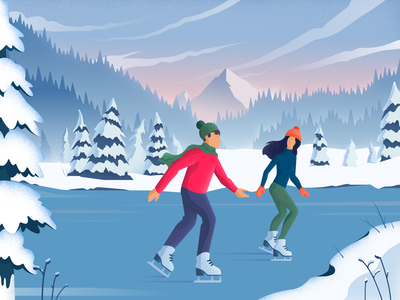 Winter Fun winter editorial vector material design colors landscape girl noise character illustration