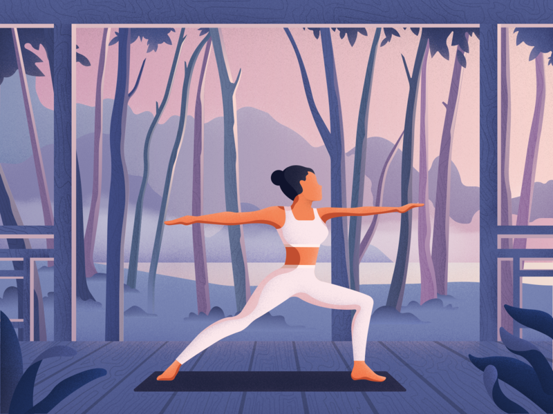 Warrior editorial colors vector sport yoga girl charachter noise material landscape illustration
