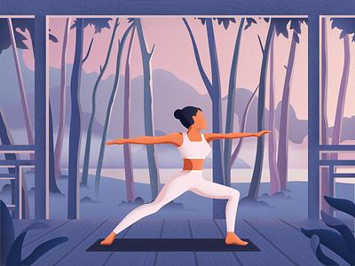 Warrior editorial colors vector sport yoga girl charachter noise material landscape illustration