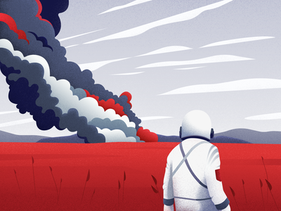 First Man astronaut space vector noise colors character landscape illustration