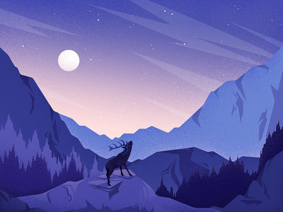 Moonlight colors night nature editorial vector landscape graphic material noise illustration