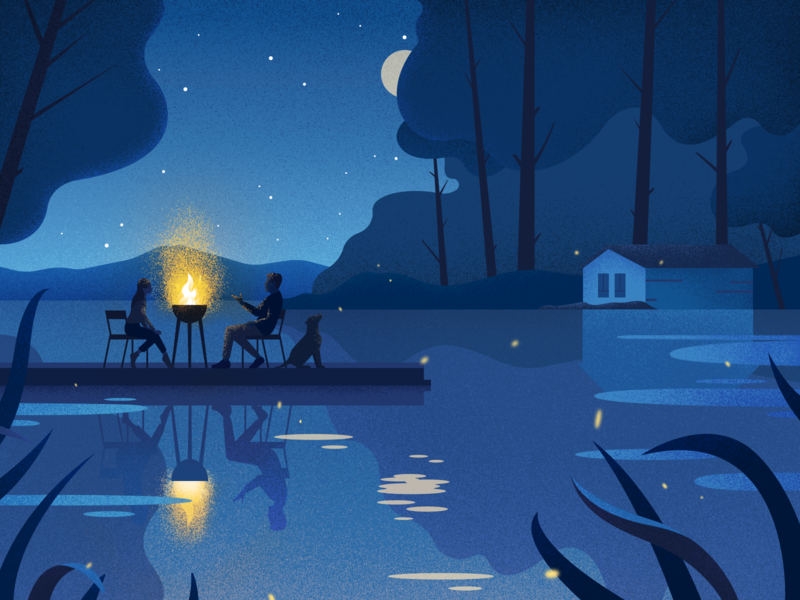 Moon River campfire business two night landscape vector colors noise illustration
