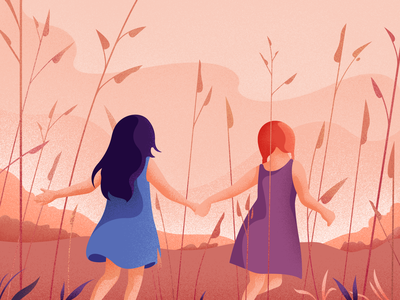 Childhood warm nature children vector landscape girl colors character noise illustration