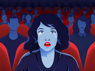 Short Film Festival poster light colors girl illustration noise material vector emotions festival film people cinema character