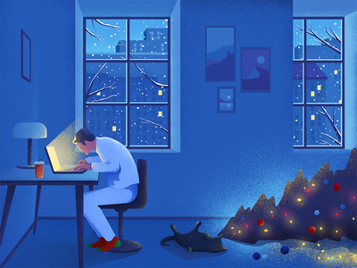 Workaholic light christmastree cat designer workaholic work holiday christmas colors character material noise illustration
