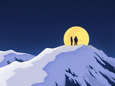 To the stars moutains light moon vector landscape colors material noise illustration