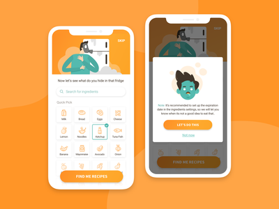 Ingredients based app concept character design orange students food ingredients character cute app illustration ui  ux product design product interactive ui design ui design