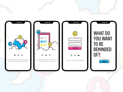 Onboarding screens ui reminder app reminders video mobile app mobile branding app illustration ui  ux product design product interactive ui design ui design