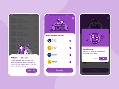 Cleaning app ui - Cleanzy mobile app cleaning services cleaning company clean purple mobile device cleaning cleaner cleaning app cleaning service branding app illustration ui  ux product design product design ui design ui