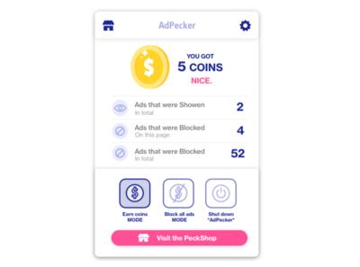 Ad blocker concept design ui design add-ons add-on interactive interface coins chrome dailyui ui  ux ui product design product addon addons adblock ads blocker