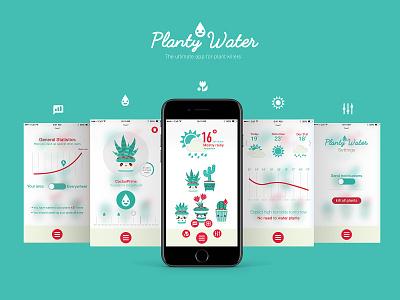 Planty Water - App concept logo icon weather app design app interactive cactus user interface ui design design illustraion application weather plants uiux ux ui app
