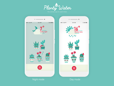Planty water - app concept concept weather character design character weahter app water plant illustration cute cactus plants icon illustration app product design product interactive ui  ux ui design ui design