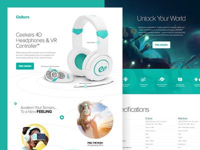 Ceekars Landing Page product turquoise teal green headphones ui landing page web website web design