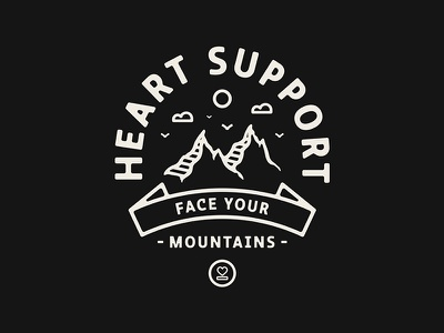 Face Your Mountains monoweight outdoors vintage apparel badge mountains illustration merch heartsupport