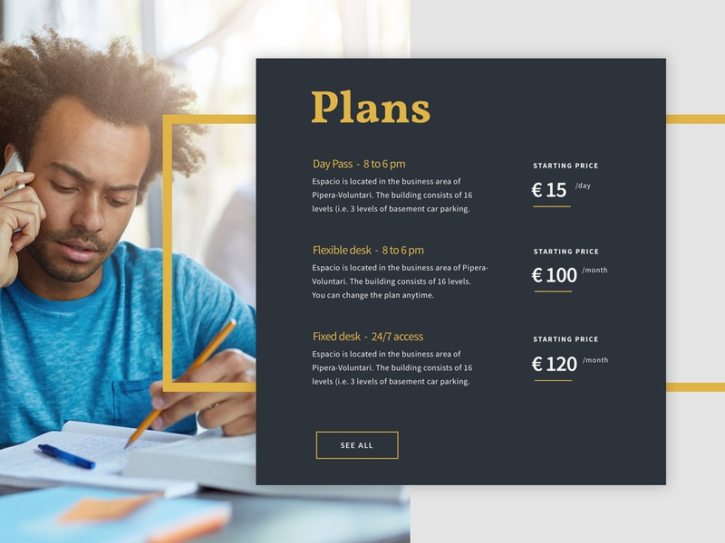 Price table - Co-Working space website