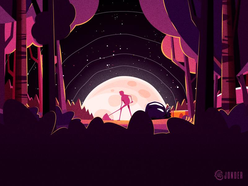 Buried trees global warming moon trees jonder character cartoon graphic design design illustration vector