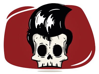 Rockabilly Skull red graphic design design illustration vector skull rockabilly