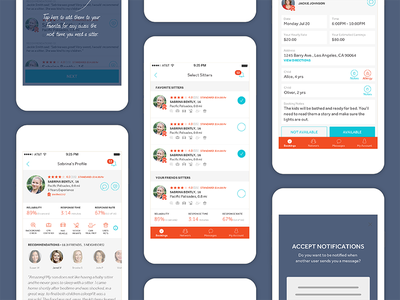 Babysitting App user interface design app design childcare baby android ios freelancer ui app fresh clean babysitting
