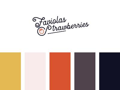 Faviolas Strawberries Logo fruit yellow script strawberries branding vector design logo