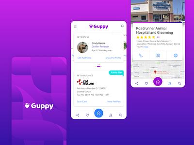 Guppy Mobile Application for Pet Owners photoshop uiux ui profile insurance location logo dog purple app pets