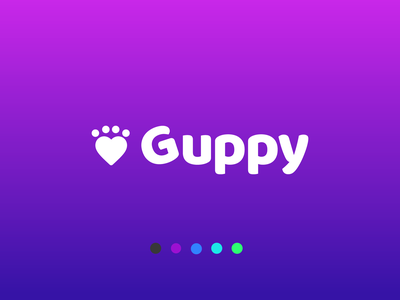 Guppy Mobile App Logo purple guppy paw pets app vector logo design design branding logo