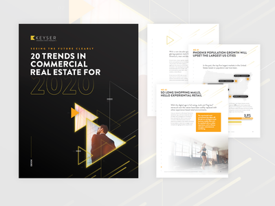Ebook 20 Trends in Commercial Real Estate for 2020 trends map yellow triangle commercial real estate ebook layout ebook design ebook cover ebook