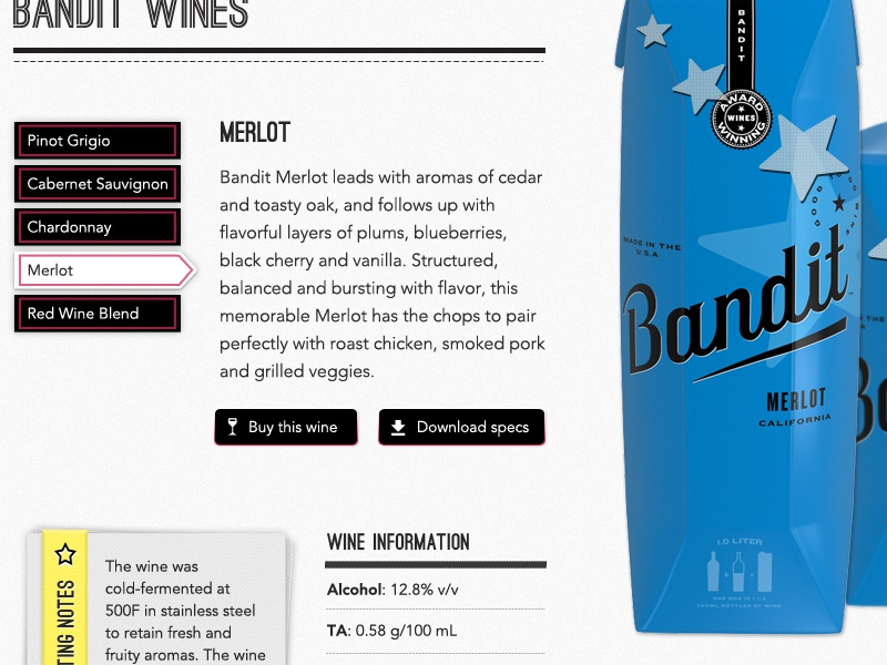 Bandit Wine - Individual Wine View retro ribbon product shot