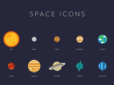 Space Icons neptune uranus saturn jupiter mars earth mercury venus moon sun planets space