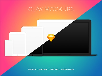Clay Device Mockups for Sketch sketch clay macbook ipad iphone device mockup