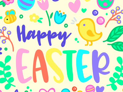 Happy Easter drawing poster colorful vector illustration april easter