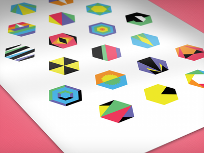Hidden Hexagons icons colorful illustrator vector hexagons shapes geometric minimalist