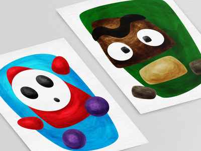 Baddies deconstructed abstract shy guy goomba super mario bros nintendo video game gamer games painting watercolor illustration vector