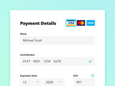 002: Credit Card Checkout modal button payment form credit card form creditcard ui dailyui