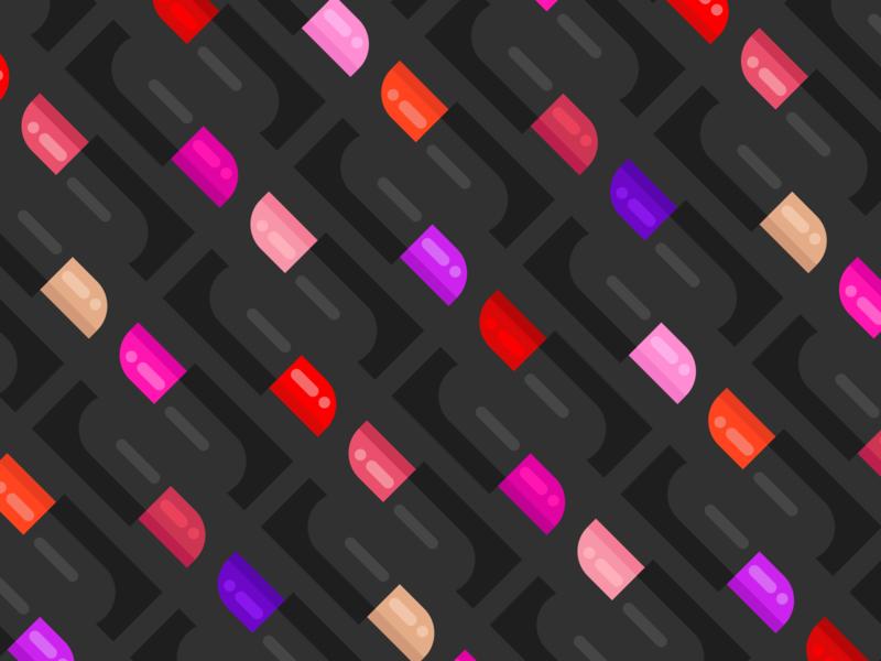 Lipstick Pattern colorful beauty lipstick makeup illustration drawings pattern vector