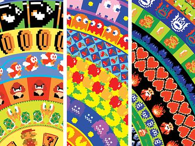 8-bit Posters pixel link zelda cherry ghost pacman pac man mario nintendo video game gamer game vintage retro art print art vector illustration poster
