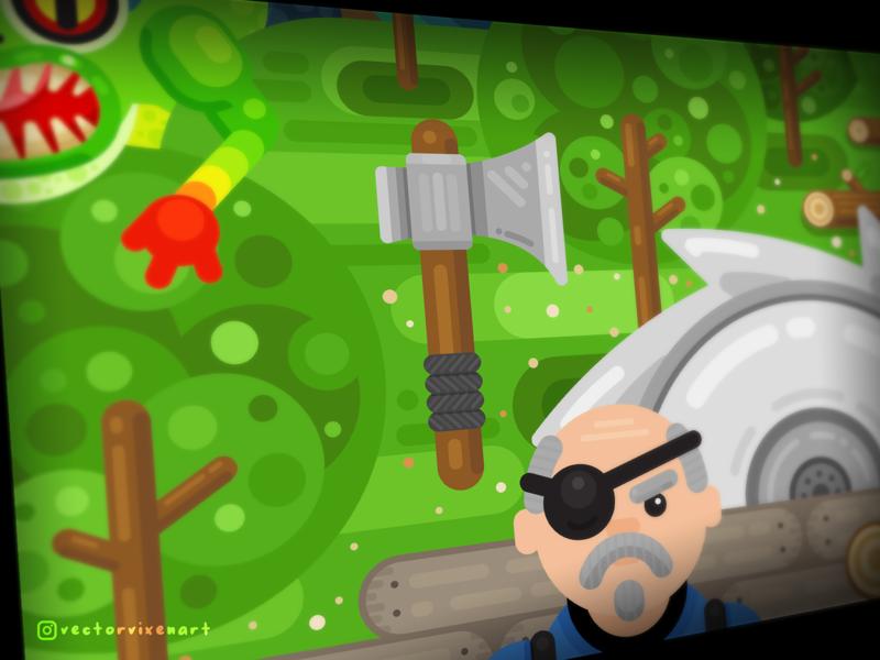 Progress: Elwynn Forest drawing poster character video game game minimalist minimal colorful illustration vector illustration vector trees forest murloc world of warcraft warcraft wow