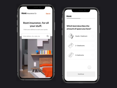 Root Renters Insurance product design figma root interaction ux ohio mobile insurance design ui