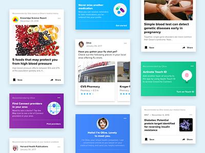 Healthcare newsfeed healthcare design cards mobile ui