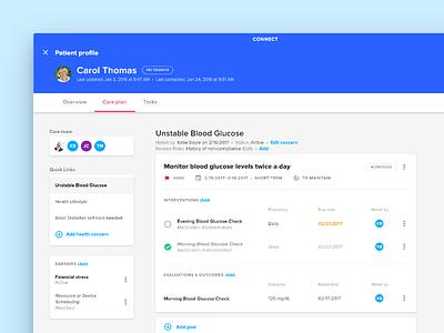 Connect Care Plans web design status medical care ux ui admin
